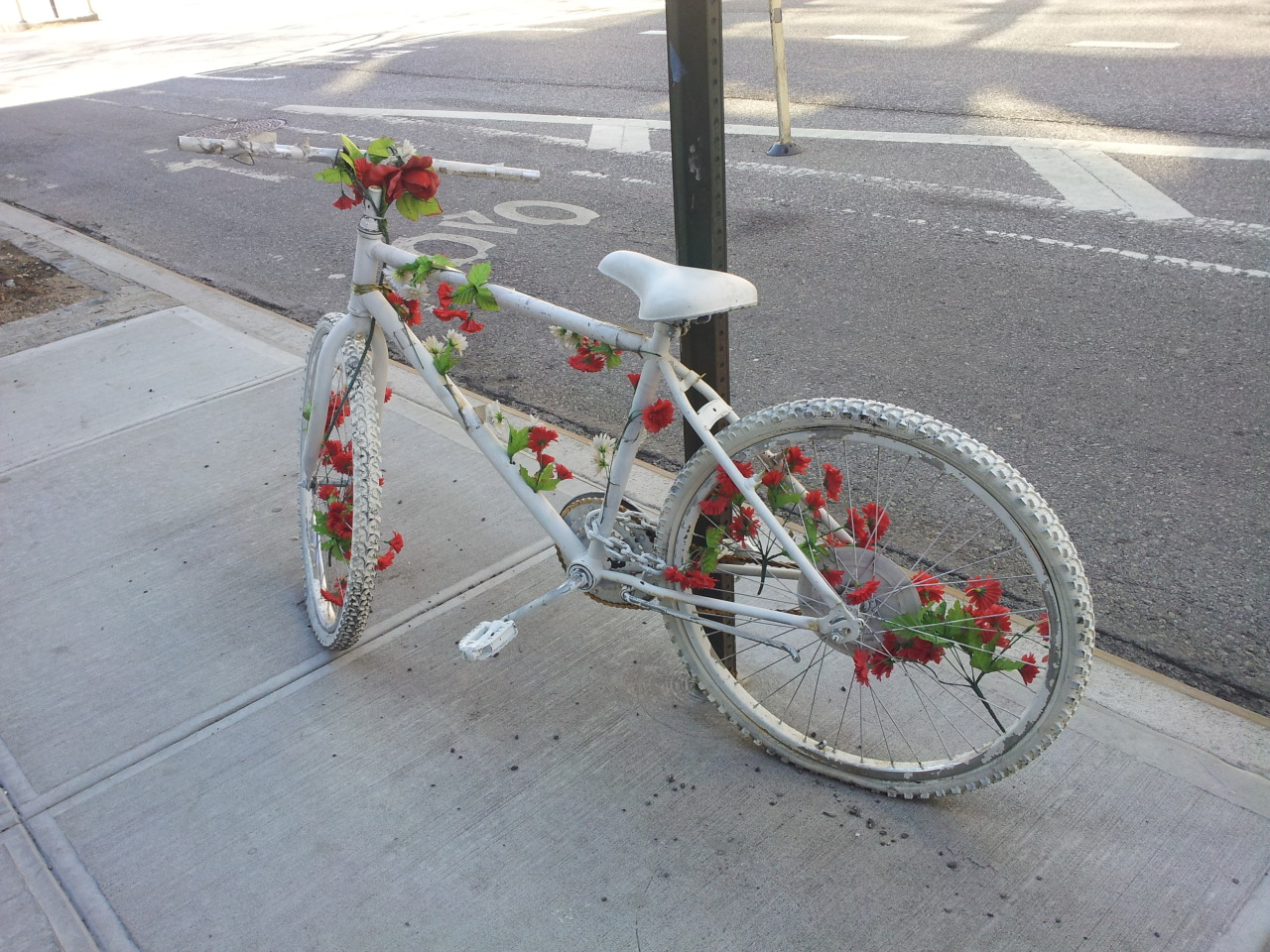 stayings:  Ghost bikes are white painted bikes used as roadside memorials for cyclists who have been killed or injured.