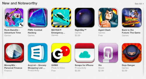 Yay! Scraps is being featured in the New and Noteworthy section. Thanks Apple!  You can read more about the app at the official website or download it from the App Store.