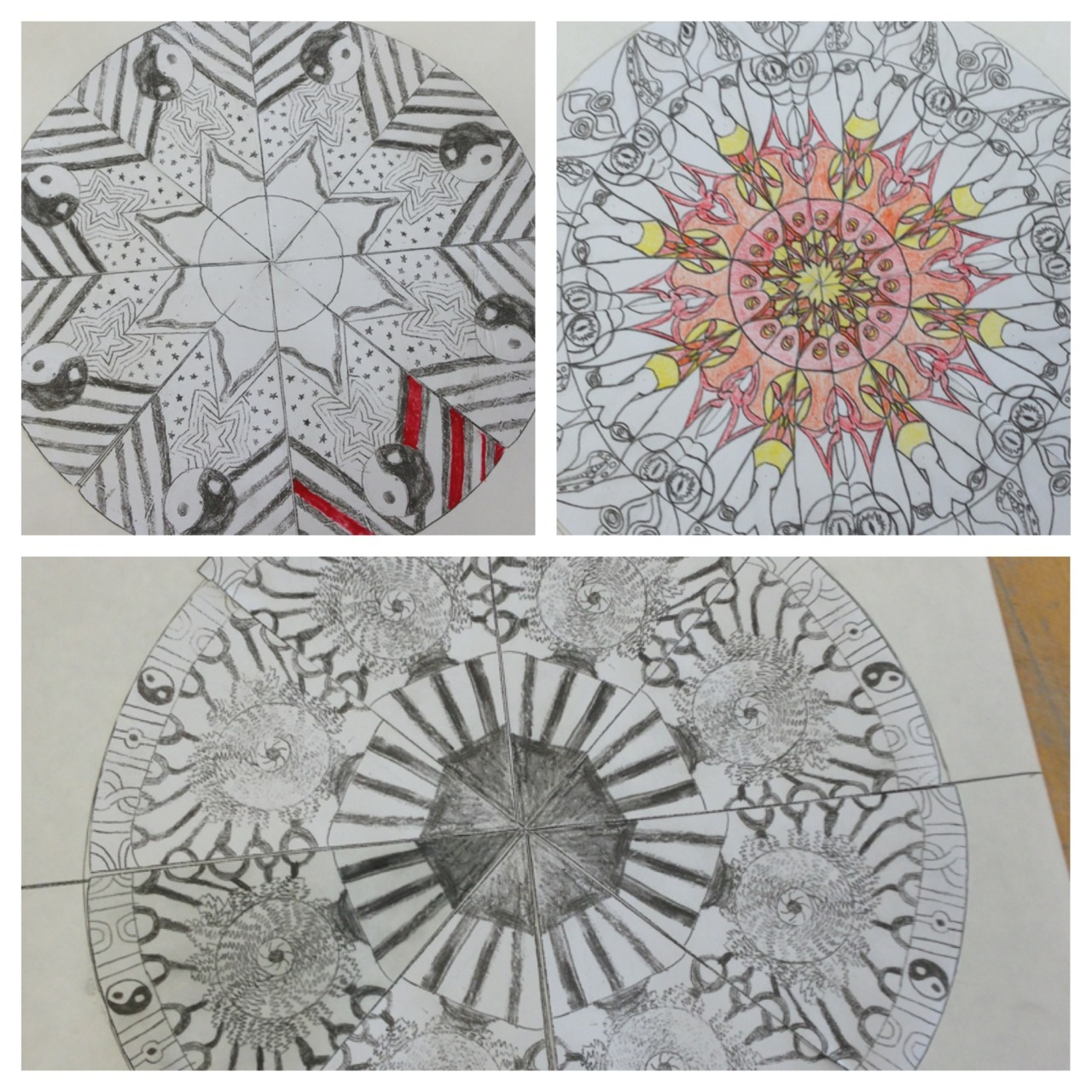 Omg new tumblr app update!!  Here are some of my 7th graders' mandalas! These are just from today, they look great!   And now I'm on spring break until April 2nd!