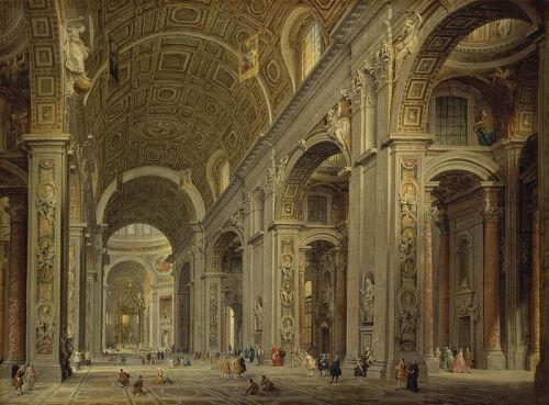 Giovanni Paolo Panini, Interior of St. Peter's in Rome, 1750s