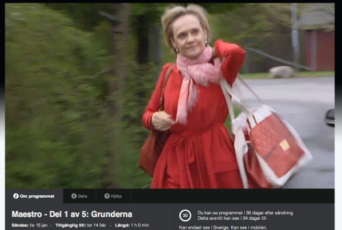Spotted on the Swedish television show, Maestro: Ballet dancer and actress, Anneli Alhanko wearing our Super Together Diamonds bag in red.  View the episode at www.svtplay.se/maestro