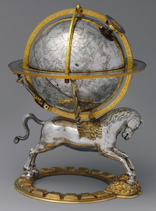 willigula:  Celestial globe with clockwork by Gerhard Emmoser, 1579