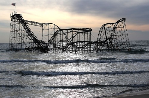 The Star Jet roller coaster remains in the water on Feb. 19, after the Casion Pier it sat on collapsed from the forces of Superstorm Sandy, in Seaside Heights, N.J.