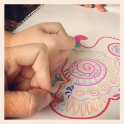 Collaborative art. #collaborate #drawing #colouring #colourful #pattern #kidsart