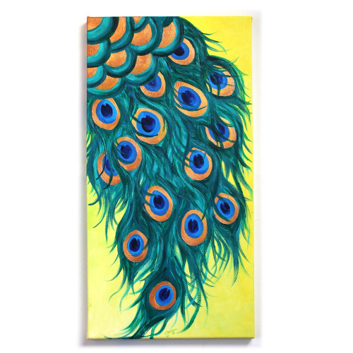 Peacock Feathers12x24 Acrylic Canvas Original Art for home or office © nJoy Art https://www.etsy.com/listing/127096570/wall-art-for-office-peacock-feathers?ref=shop_home_active