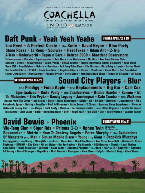 deadfreaks:  The Latest UNCONFIRMED Line-Up for Coachella 2013 With a few months before the large 6-day music event takes place, we've already received yet another unconfirmed line-up which has been released onto the net. After seeing the previous line up on Stereogum, the roster of artists performing has changed around quite a lot. In this list contains artists who Stereogum say will certainly not be performing such as David Bryne and FISHERspooner. Although this fantasy line-up may be false, who would you like to see on the officially confirmed line-up for this year's Coachella? Feel free to drop the names of those you would love to see featured on the official line-up below.