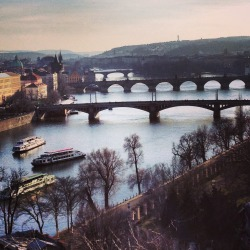 danidoesvienna:  Prague. Vltava River.  When asked what I picture the next five years of my life to be, I can never answer because I can never picture the rest of my life. I always pictured being constantly on the move- traveling, exploring, keeping my possessions light and letting my roots grow shallow, so i can always tear them up and start anew far away. But then I see this river, and I remember this city. And I feel like I could spend the rest of my life beside this river.  And I feel like I could spend the rest of my life in this city.  Remembering this city, I can see the future.