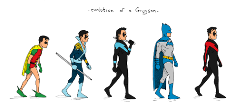 theeletterj:  Umm, here's a stupid doodle of a silly idea i had. Dick Grayson has always been one of my favorite comic book characters. I don't know.