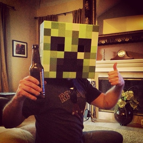 I'm drinking a beer and being a Minecraft Block!!!