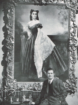 Gone With the Wind producer David O. Selznick with the portrait of Vivien Leigh as Scarlett O'Hara.