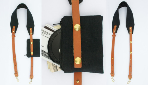 ON SALE NOW! The Mini Ruck | Duck Canvas and Leather Mini-Camera Strap Mini in size, but major in function. The Mini Ruck is plenty strong for bigger gear, but specially designed for the wave of new mini-cameras such as the Micro 4/3rds, Sony Nex and of course anything Leica. The attached (and detachable) wallet is secured with quadruple snaps and designed to carry ID, credit cards, camera memory, and other mini-necessities. There's even a place to stow your sunglasses.  Crafted from duck canvas, Bridle leather, and micro-fiber suede lining — the Mini Ruck is like your own personal bank safe. Only smaller and way more stylish around your neck.  Secure your stuff. Eliminate distraction. Get the shot.  Patent pending.