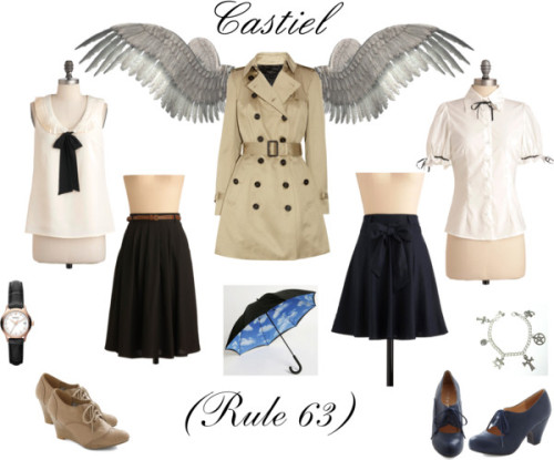 holysaltwater:  Rule 63 Angel of the Lord Style. Inspired by lettiebobettie's adorable fem!cas <3 Rule 63 Dean here :) Supernatural: Rule 63 Castiel Style by holysaltwater featuring a high heel Bettie Page sheer blouse / Tie shirt / Burberry trench coat / Swedish Hasbeens black skirt / Linen skirt / High heel / High heel / Wedge heels / FOSSIL leather jewelry, $175 / Bracelet / Urban Outfitters  umbrella