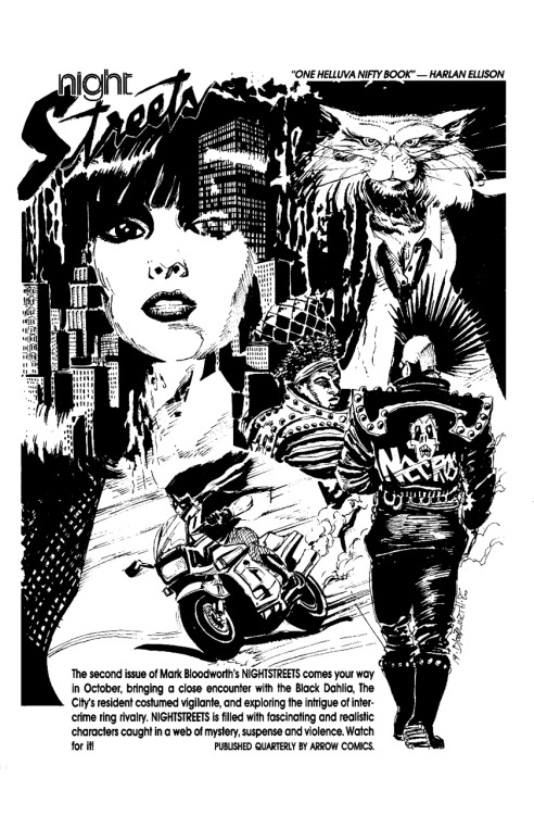 Promotional ad for Nightstreets #2 by Mark Bloodworth, 1986.
