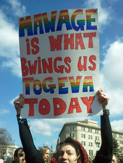 tastefullyoffensive:  Wuv, twue wuv.[via]  THIS WAS MY FAAAAAVIE SIGN FROM THE PROP 8/DOMA PROTESTS YESTERDAY!