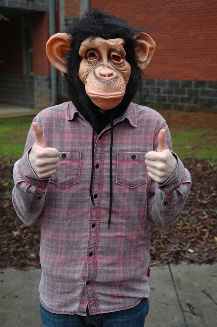 Me in a chimp mask.Photo Credit: Jessica Gallager