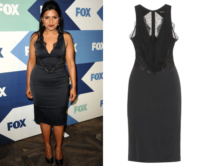 Softnet Kaling wore a black lace paneled dress to the 2013 Fox TCA Summer Party last night. Roberto Cavalli Lace-Detailed Stretch Jersey Dress - $2,055 also available from Saks Fifth Avenue and MyTheresa