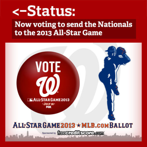 The 2013 All-Star Game ballot is now available! So what should you do?  First, go to http://atmlb.com/17XAxLz and start voting. Then, REBLOG this so your friends know you're busy voting Nats all day.
