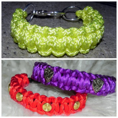 DIY Two Cobra Stitch Bracelets Tutorials. Top Photo: Neon Cobra Knot Bracelet Tutorial from Smart n Snazzy here. Dollar Store and Home Depot Rope with a clasp. Bottom Photo: Studded Satin Cord Cobra Knot Bracelet Tutorial from Smart n Snazzy here.