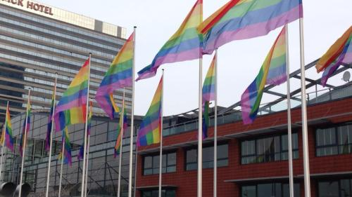 vjezze:  Amsterdam is turning rainbow for a visit of the Russian president Putin. The council of the city of Amsterdam has decided to hang out the gay pride flag on all council owned buildings and offices, in protest to Russia's new anti-gay law.