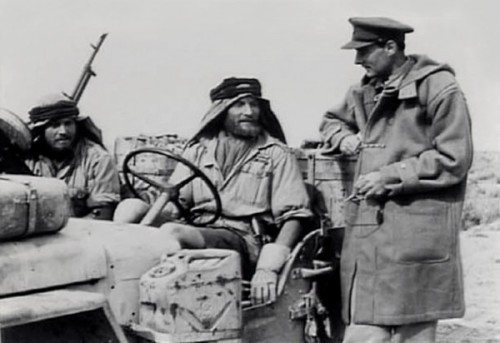 Sir David Stirling, founder of the SAS with Duffle Coat in the Desert.
