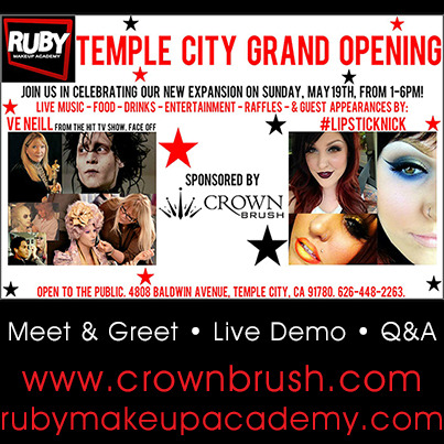 RUBY Makeup Academy Temple City Grand Opening!!! Sponsored by Crown Brush Celebrate the expansion on Sunday, May 19th from 12-6pm! Special Appearances by Ve Neill (Face Off) and #Lipsticknick. Meet & Greet • Live Demo • Q&A #crownbrush #rubymakeupacademy #veneill #lipsticknick
