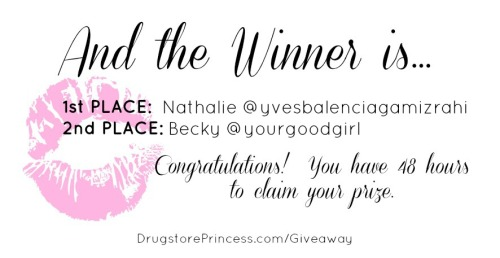 CONGRATULATIONS to the winners of my Birthday BH Cosmetics Giveaway! 1st Place - Nathalie, of yvesbalenciagamizrahi.tumblr.com  2nd Place - Becky, of yourgoodgirl.tumblr.com The two winners are being notified, and will have 72 hours to claim or defer their prizes. Thank you to all who entered!  It was an extra birthday treat getting to read all of your contest entries!!  Kind words like yours are the type that keep me motivated to go on with DrugstorePrincess, even though it can feel like a lot of work sometimes ;)  I appreciate every single one of you, and if I could send all of you goodies without going desperately broke, I would in a heartbeat! haha Don't be discouraged if you didn't win, I promise that there will be more amazing giveaways in the near future!  <3 Winners were chosen by random.org, a list randomizer, and have been verified as qualifying participants of the contest.