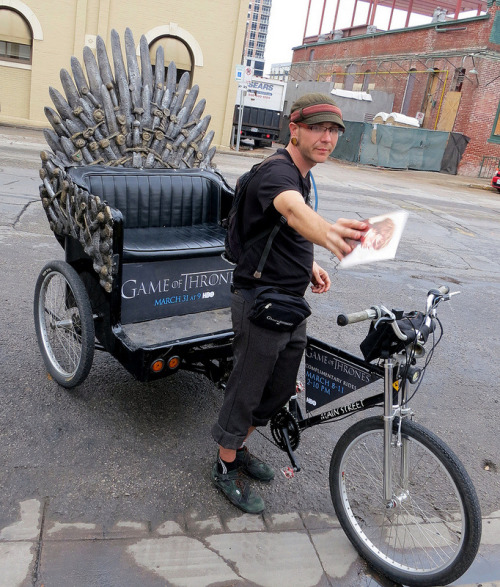 laughingsquid:  'Game of Thrones' Iron Throne Pedicabs at SXSW  They're everywhere here in Austin. And they're fantastic. Brilliant marketing.
