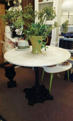 In Shop: Cast Iron Base Table with Marble Top £245. Top detached for removal.