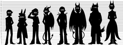 a height chart of the dateable boys. i only included finn's werewolf form since he's in it the majority of the time and also because im hungry and want to be done with this haha