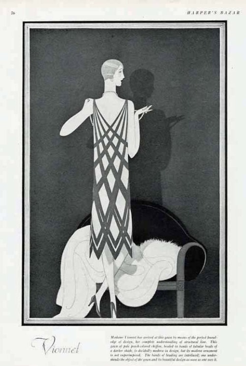 sydneyflapper: Harper's Bazaar 1925 illustration of a Madeleine Vionnet. Pale peach chiffon with beaded darker bands.