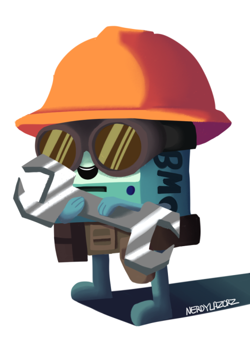 Beemo cosplaying as the Engineer from TF2 because why not~