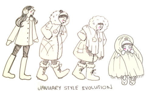 "January 1st: It's a new year! Time to start on the right foot as a fancy lady! Check me out, staying warm AND stylish. Honestly, it's not that hard. January 5th: Okay, well now, it's getting pretty chilly out there.  No problem, we'll just bust out the puffer coat and some fur lined boots, and we'll be just fine. January 15th: Have put on every layer I own.  My new style  is a cross between Ernest Shackleton and the Michelin Man. Why am I still cold? January 23rd: ""Feels like 0 Degrees"" All hope is lost. I'm wearing my comforter everywhere. Full human to marshmallow transformation is complete."