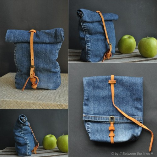 etsy:  A genuis DIY: turn the leg of an old pair of jeans into a handy lunch bag. Check it out here» Lunchbroek » Veetje.  Super cute.