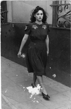 Girl in the street. 1940s