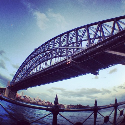 Sydney Harbour Bridge #sydney #bridge #instagram #instagood #fisheye #sky #australia #fence #moon (at Sydney Harbour Bridge)