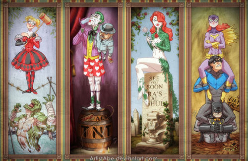 "Disney's 'Haunted Mansion' Ride Gets An Arkham Asylum Makeover By Joseph Hughes Inspired by prominent art from Disney's famous Haunted Mansion attraction, artist Abraham Lopez has created ""Haunted Arkham Asylum,"" featuring Batman and other characters in his universe portrayed in ""stretch art."" The idea is that the images at the top seem perfectly sedate, until they are stretched to reveal a far more sinister situation than previously believed. READ MORE"