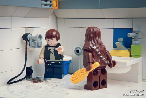 Chewie! Your hair! // by storm TK431  The drain is completely clogged with your hair, Chewie!
