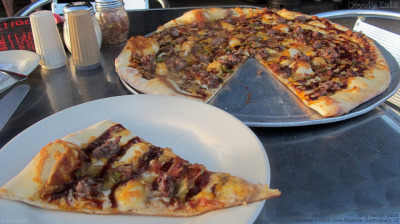 Dirty Burger pizza - first slice by Coyoty on Flickr.
