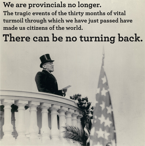 President Woodrow Wilson's second Inaugural Address, March 4, 1917  President Wilson prepares Americans for United States involvement in World War I. He would ask Congress to declare war on April 2.Photo from The Library of Congress