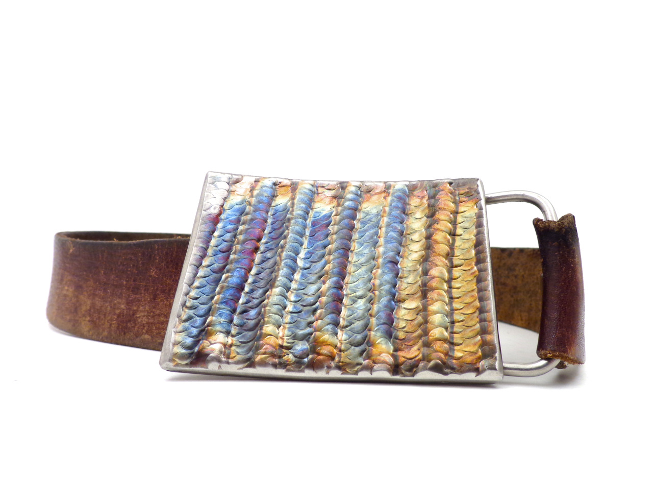 If you missed out on the Stringer stainless buckle, check out the Weaved stainless buckle! I made two, there are two listings…here's one:https://www.etsy.com/listing/124738555/weaved-welds-stainless-steel-belt-buckle