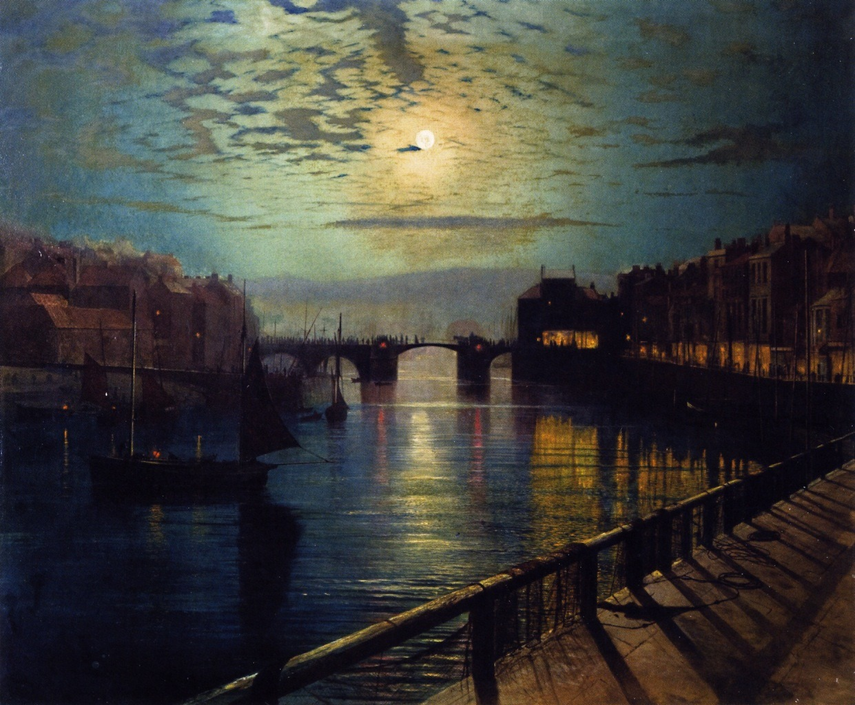 fleurdulys:  Whitby Harbor by Moonlight - John Atkinson Grimshaw 1862