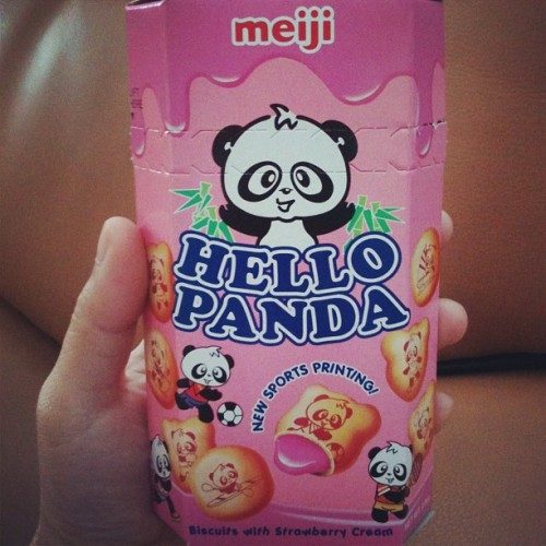 Panda biscuit ~(^w^~) #yum #snack #strawberrybiscuit #panda