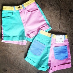 americanapparel:  The Color Block High Waist Jean Cuff Short is coming soon!  get these on me
