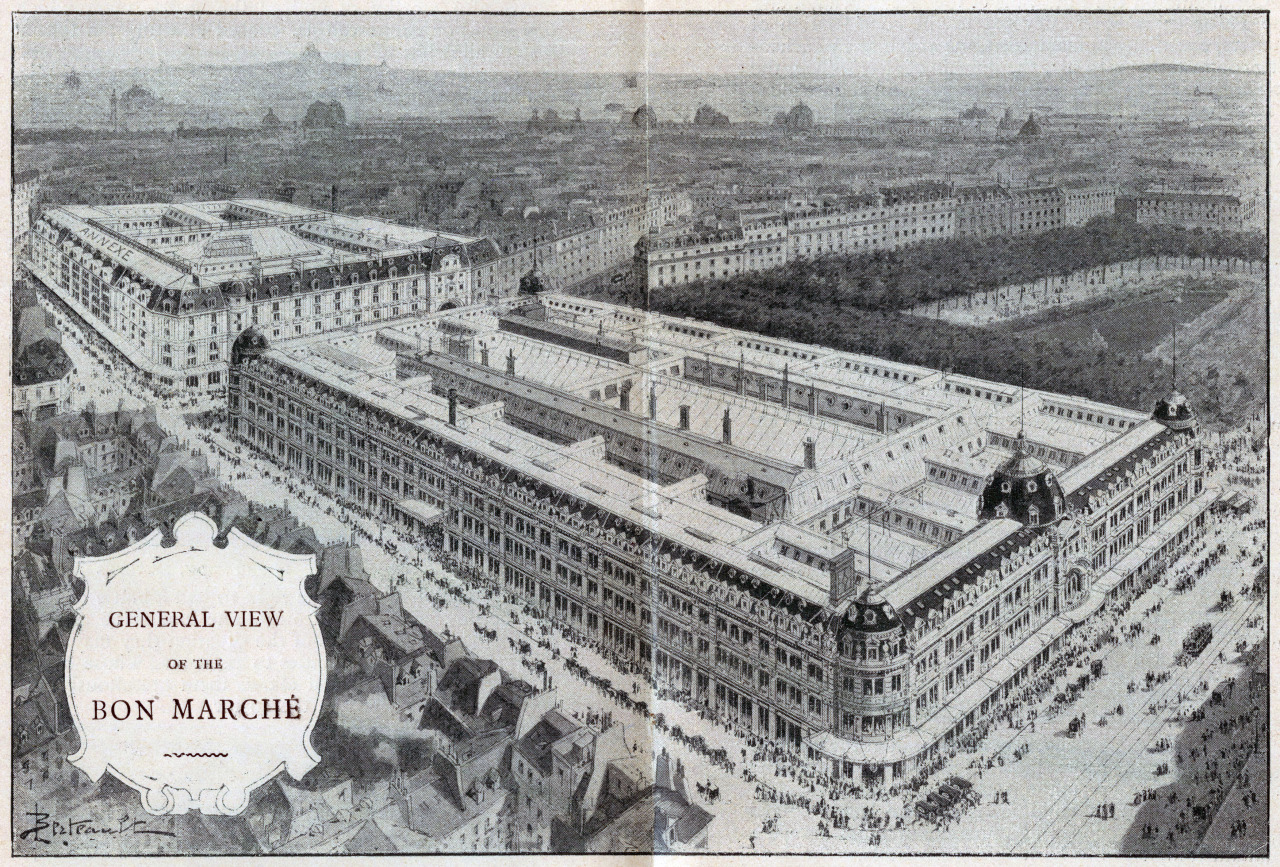 Aerial view of the Bon Marché department store, Paris
