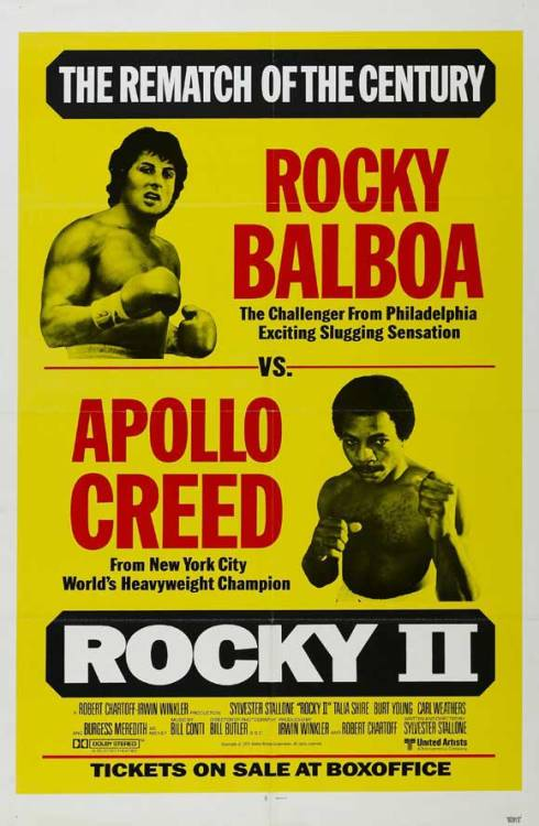 71/2013 Movie List 204. Rocky II (1979) Rocky struggles in family life after his bout with Apollo Creed, while the embarrassed champ insistently goads him to accept a challenge for a rematch.   Director:  Sylvester Stallone  Writer:  Sylvester Stallone  Stars:  Sylvester Stallone, Talia Shire, Burt Young | See full cast and crew