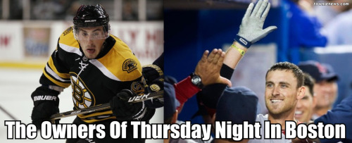 "Mssrs Marchand and Middlebrooks, Boston sportsfankind thanks you for your Thursdays.  Obviously Mr. Marchand delivered on a SLIGHTLY larger stage, in an environment replete with, oh, just a weeeeee bit more pressure (and with a sweetass assist from Mr. Bergeron, no less).  But still - these dudes were the chief operating officers of the ""Send 'Em Home Happy Society: Boston Sports Division"" Thursday night, and I, like you, and one and many, couldn't be friggin happier.  I hope whoever saw them wherever they were postgame made sure to buy them a beer / offered sex / maybe did both.  Whatever.  It was a tense sportsnight that had a surprisingly double kickass finish. S'go Beez!  What a week to be black 'n gold.  And welcome back, tingly winning Sox feelings.  Missed that the last 2 weeks.  #NoBromo"