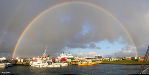 """ Quay No. 3 with Rainbow ""  …  Port Den Helder, Netherlands,  Photograher:  Bernt R. Koning"