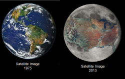 gamsee:  forevertheuke:  ipissedinyourmountaindew:  Real satellite imagery from NASA We are killing out planet.  NoThat's just the united stated photoshopped on the moon.  no thats our dying planet have some respect