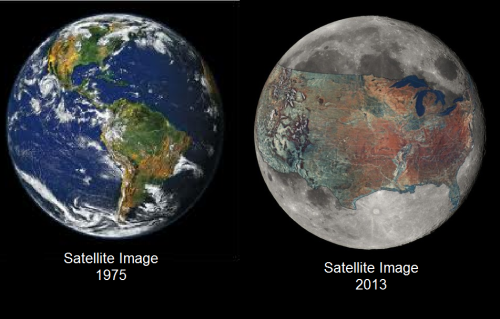 izzetheking:  ipissedinyourmountaindew:  Real satellite imagery from NASA We are killing out planet.  OMFG!!!!!!!!!!!!!! WE NEED to stop !!!!! WHY HASNT OBAMA DONE ANYTHING?????????????????????? WHAT THE FUCKING FUCK! THIS IS HORRABLE! PLEASE EVERYONE RIDE BIKES INSTEAD!    Im sure earth looks pretty fucked up now compare to 1975 but this look so damn photoshop like they just paste a distorted color image of US geography land set on to an image of a moon…..
