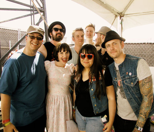 melissa-musical:  with Skinny Lister at the Coachella Music Festival [4.19.13] (interview coming soon!)  That one guy in the blue just jumped in lol